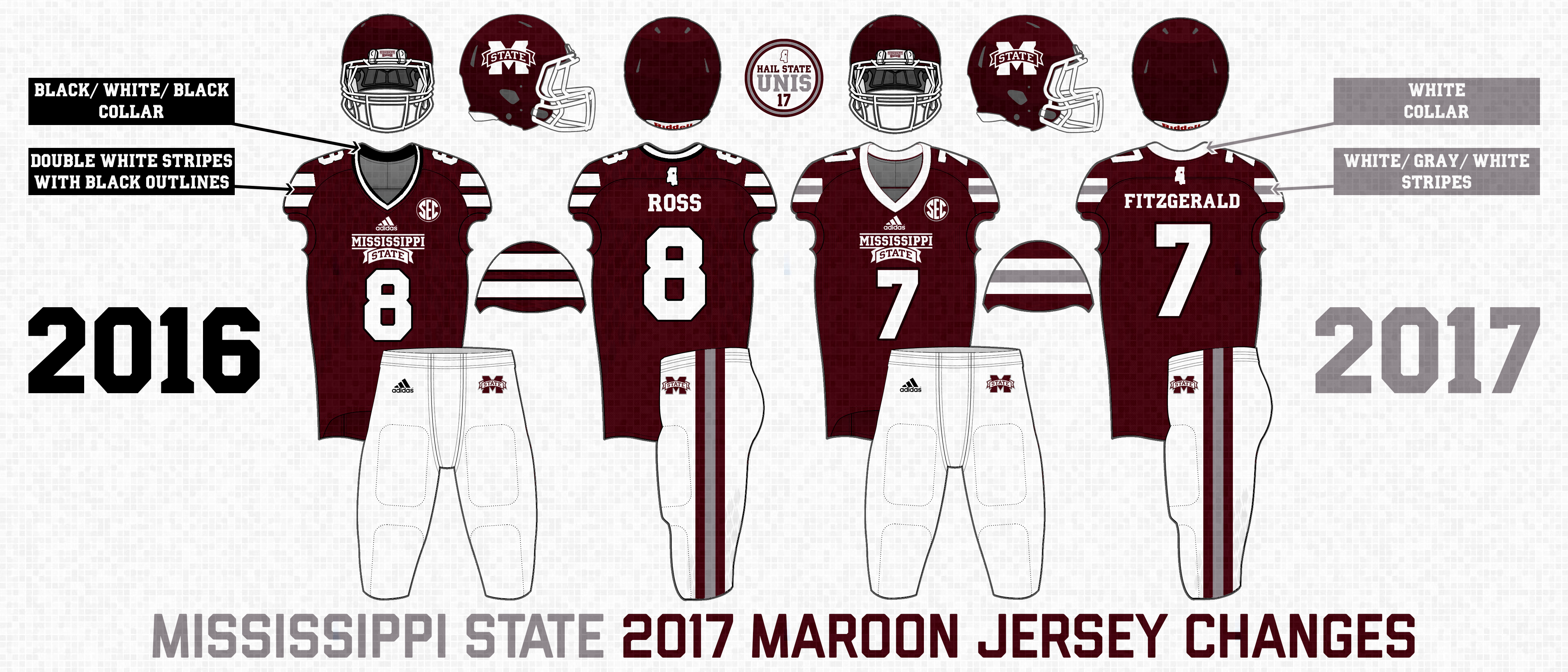The changes to the maroon jersey in 2017 include  1bf1f2258